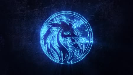kat : Blue Lion Intro-logo met Reveal Effect-achtergrond Stockvideo