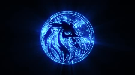 племенной : Blue Lion Logo with Reveal Effect Overlay Graphic Element Стоковые видеозаписи