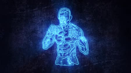 マスコット : Blue Fighter Boxer Intro Logo with Reveal Effect Background