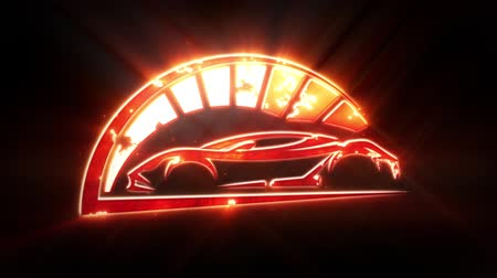 classic car : Red Sport Car Logo with Reveal Effect Overlay Graphic Element