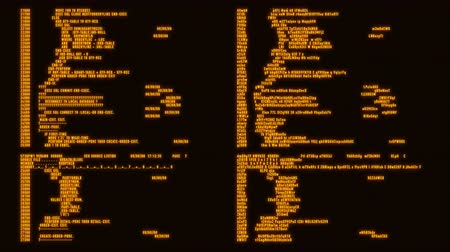 Orange Hacker Text - Database Encryption Decryption Motion Background Стоковые видеозаписи