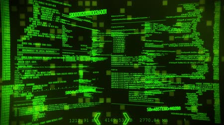 Green Hacker Digital Text Motion Graphic Background Стоковые видеозаписи