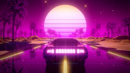 3D Retro Synthwave Autolandschaft VJ Loop Motion Hintergrund Videos