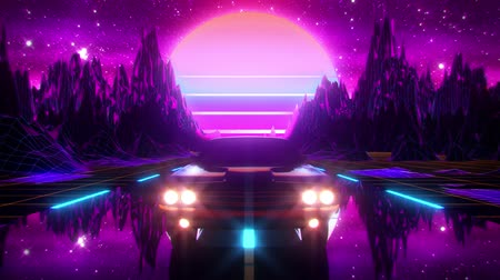 3D Retro Synthwave Night Mountains VJ Loop Motion Background