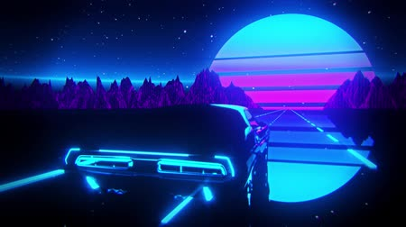 3D Retro Synthwave Night Landscape VJ Loop Motion Background
