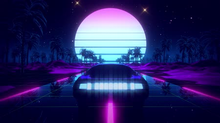 3D Retro Synthwave Palms Landscape VJ Loop Motion Background
