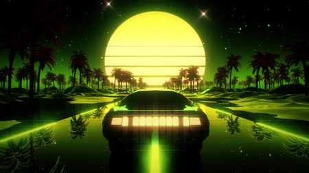 3D verde retro Synthwave Palms paisaje VJ Loop Motion Background