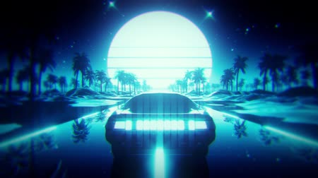 3D Blue Retro Synthwave Palmen Landschaft VJ Loop Motion Hintergrund