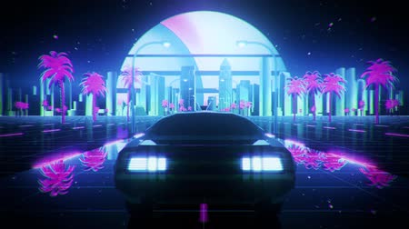 3D Retro Synthwave Night City Car VJ Loop Motion Background