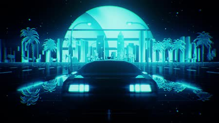 3D Blue Retro Synthwave Night City Car VJ Loop Motion Background