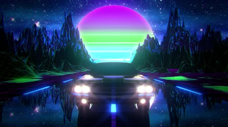 3D Synthwave Night Mountains VJ Loop Motion Background retro