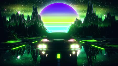 electro : 3D Retro Synthwave Night Mountains VJ Loop Motion Background