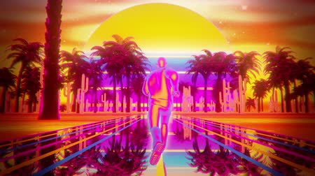 3D Retro Synthwave Running Man VJ Loop Motion Background Archivo de Video