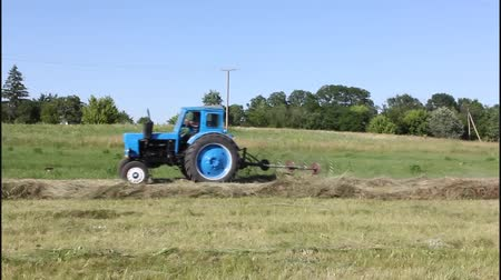 machine sous : Harvesting hay. Special unit tractor rakes dried grass.