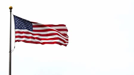 united states : Stars and Stripes flag of the United States of America flying high on a windy day 1920x1080 high definition