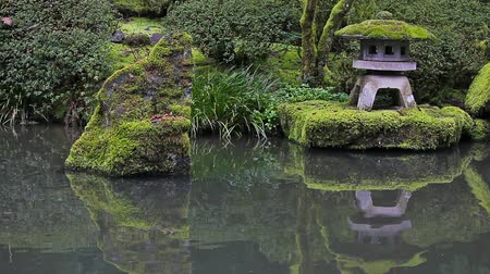 japonka : High definition movie of Portland Japanese Garden Pond water reflection with stone lantern spring season 1080p hd