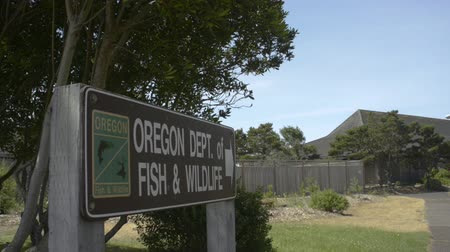 fenerbalığı : NEWPORT, OREGON JULY 14 2015, Camera tilts down to Oregon Fish & Wildlife sign, pathway to the local office.