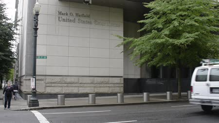 PORTLAND, OREGON SEPTEMBER 7 2016, The Mark O. Hatfield United States Courthouse, featuring the signage and main entrance.