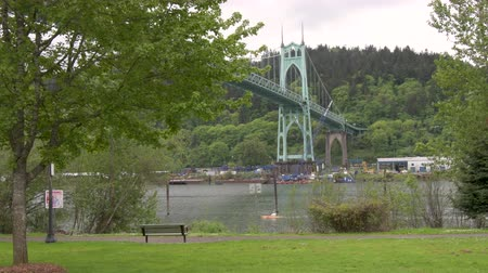 Cathedral Park in Portland, Oregon on an overcast dayView of the St Johns Bridge crossing the Willamette river, framed by trees, from . A kayaker goes by.