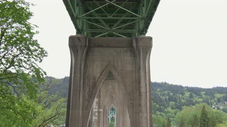truss : Tilt down from the underside St Johns bridge, to the unique supports that gave Cathedral Park in Portland, Oregon its name.