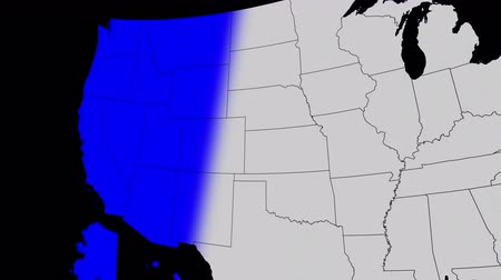 Animation with a clear alpha channel background, representing a Blue Wave of Democratic takeover, a map of the United States turning blue for Democrats gaining control of positons in the government.