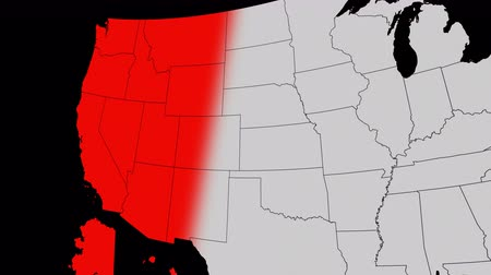 Animation with a clear alpha channel background, representing a Red Wave of Republican takeover, a map of the United States turning Red for Republicans gaining control of positions in the government. Stok Video