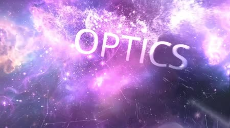 dizilirler : Optics word in animation. Optics word with animation. Fiber optics lights abstract background Stok Video