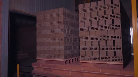 przesyłka : Plant for the production of bricks. Plant for production building material with ready brick, construction industrial. Production of bricks on plant. Workflow, close-up. Brick stacks. Many bricks
