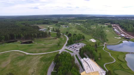 clubhouse : Top view green golf course outdoor green grass field. Aerial view from flying drone.