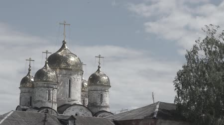 annunciation : Orthodox church dome. Summer landscape with white chuch. Cathedral of Christ the Savior