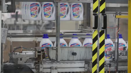 disinfectant : Moscow, Russia - May, 2017: Liquid Detergent on Automated Production Line. Clip. Production line for the production of chemicals