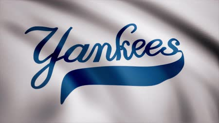oymak : Flag of the Baseball New York Yankees, american professional baseball team logo, seamless loop. Editorial animation