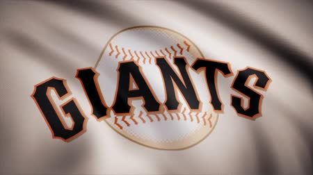 beisebol : Flag of the Baseball San Francisco Giants, american professional baseball team logo, seamless loop. Editorial animation
