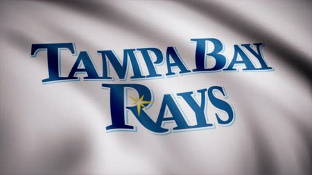 tampa bay : Flag of the Baseball Tampa Bay Rays, american professional baseball team logo, seamless loop. Editorial animation Stock Footage