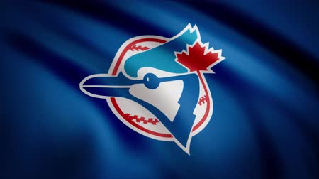 ensign : Flag of the Baseball Toronto Blue Jays, american professional baseball team logo, seamless loop. Editorial animation