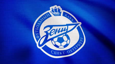 zenit : Close-up of waving flag with FC Zenit football club logo, seamless loop. Editorial animation