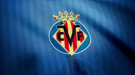 сложить : Close-up of waving flag with FC Villarreal football club logo, seamless loop. Editorial animation Стоковые видеозаписи
