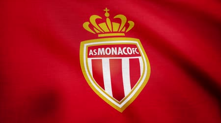 como : Close-up of waving flag with FC AS Monaco football club logo, seamless loop. Editorial animation Stock Footage