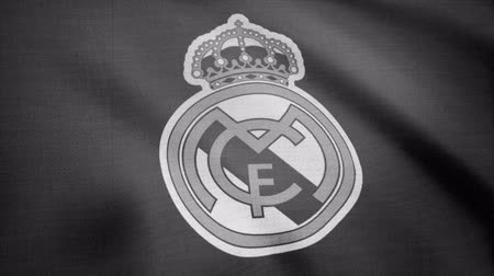 real madrid : FC Real Madrid flag is waving, monochrome, tv noise. Close-up of waving flag with FC Real Madrid football club logo, seamless loop. Editorial animation Stock Footage
