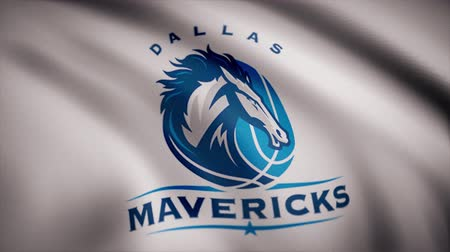 Észak amerika : Animation of flag with symbol of Basketball Dallas Mavericks. Editorial animation