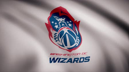 típico : Animation of flag with symbol of Basketball Washington Wizards. Basketball. Editorial animation Stock Footage
