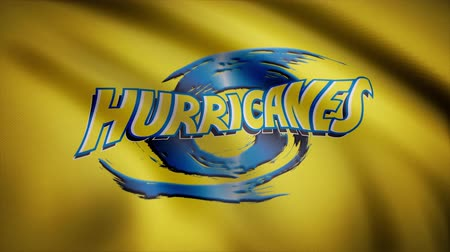 rúgbi : Animation of flag with symbol of Rugby Hurricanes. Editorial animation Vídeos