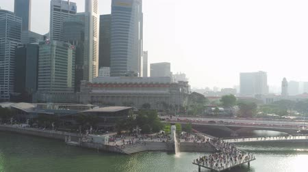 SINGAPORE - June, 2018: Top Tourist Attractions in Singapore around Marina Bay. Shot. Top view of the river in Singapore Stok Video