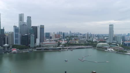 sand bank : SINGAPORE - June, 2018: Aerial view of singapore down town area. Shot. Top view of skyscrapers in Singapore