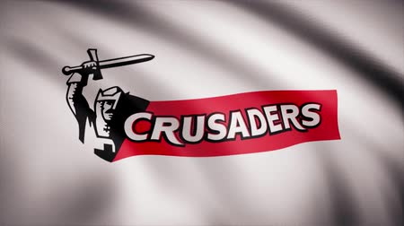 penas : Waving in the wind flag with the symbol of the Rugby team the Crusaders. Sports concept. Editorial use only