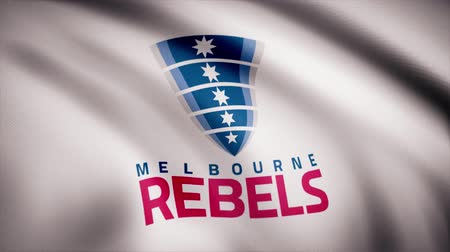 rúgbi : Waving in the wind flag with the symbol of the Rugby team the Melbourne Rebels Sports concept. Editorial use only