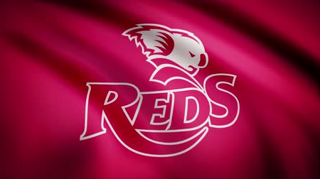 futball : Waving in the wind flag with the symbol of the Rugby team the Queensland Reds. Sports concept. Editorial use only