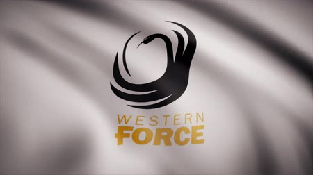 oválný : Waving in the wind flag with the symbol of the Rugby Western Force team. Sports concept. Editorial use only Dostupné videozáznamy