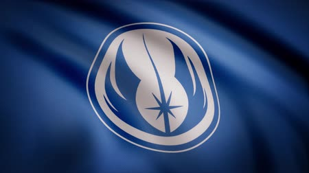 blockbuster : Waving in the wind flag with the symbol of Jedi Order. The animation of the flag of the Jedi Order Symbol. The star Wars theme. Editorial only use