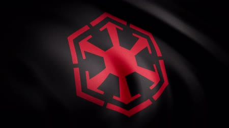 сила : Waving in the wind flag with the symbol of Sith Empire. The animation of the flag of the Sith Empire Symbol. The star Wars theme. Editorial only use Стоковые видеозаписи